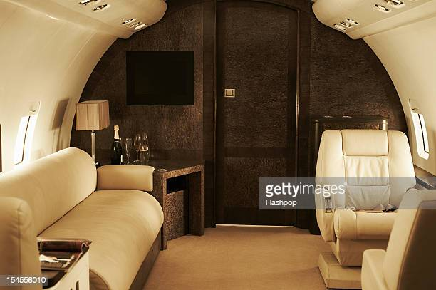 interior of luxury private jet - air vehicle stock pictures, royalty-free photos & images