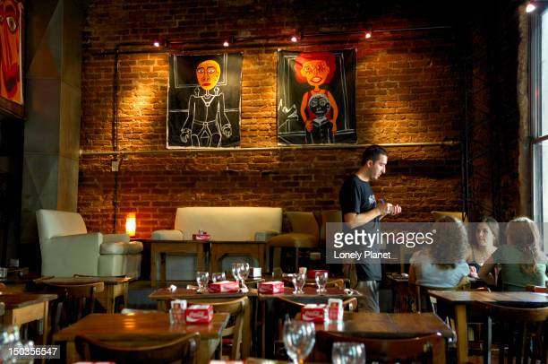 interior of malas artes drinking spot, palermo viejo. - palermo buenos aires stock photos and pictures