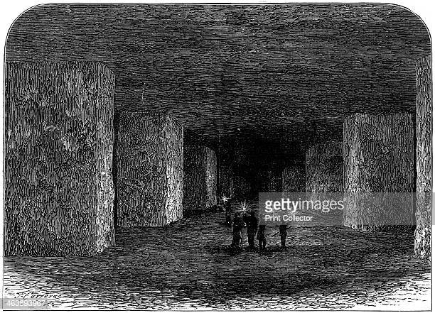 Interior of Marston Salt Mine Northwich Cheshire England c1880 This shows how pillars of rock have been left to support the roof At this date the...