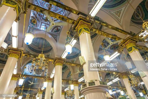 MEDINA-MAR 6 : Interior of Masjid Nabawi March 6, 2015 in Medina, Saudi Arabia. Nabawi Mosque is the