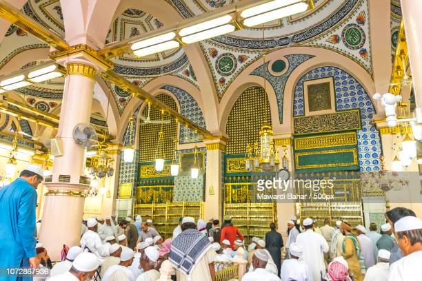 MEDINA-MAR 8 : Interior of Masjid Nabawi March 8, 2015 in Medina, Saudi Arabia. Nabawi Mosque is the