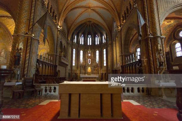 interior of matthias church budapest - catholicism stock pictures, royalty-free photos & images