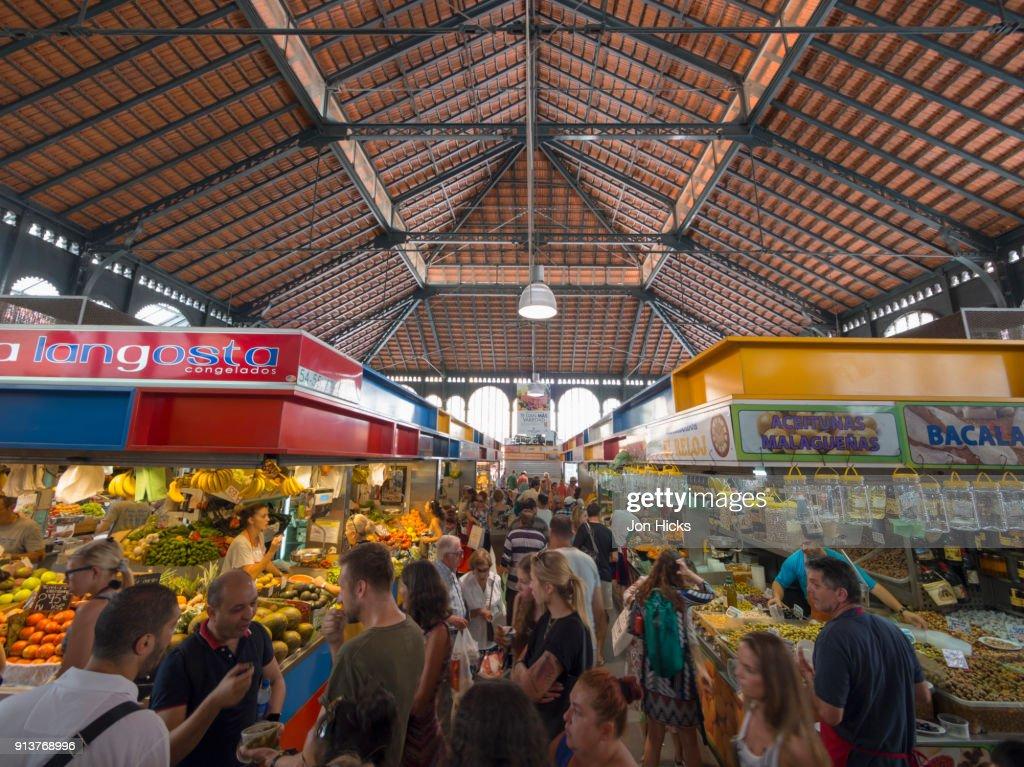 Interior of Mercado Central de Atarazanas, the covered produce market in central Malaga. : Stock Photo