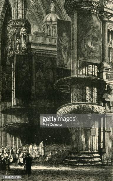 'Interior of Milan Cathedral' 1890 Construction began in 1386 under Archbishop Antonio da Saluzzo by Italian architect Simone da Orsenigo Interior...