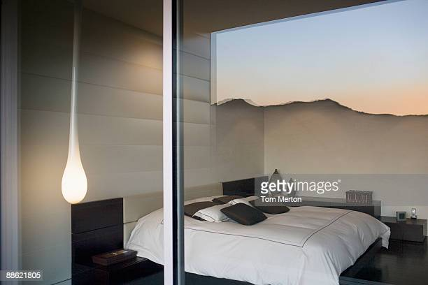 interior of modern bedroom - calabasas stock photos and pictures