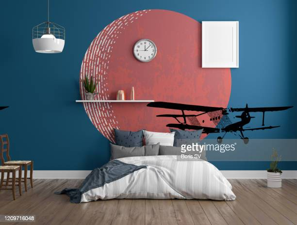 interior of modern bedroom with wall theme - terracotta stock pictures, royalty-free photos & images