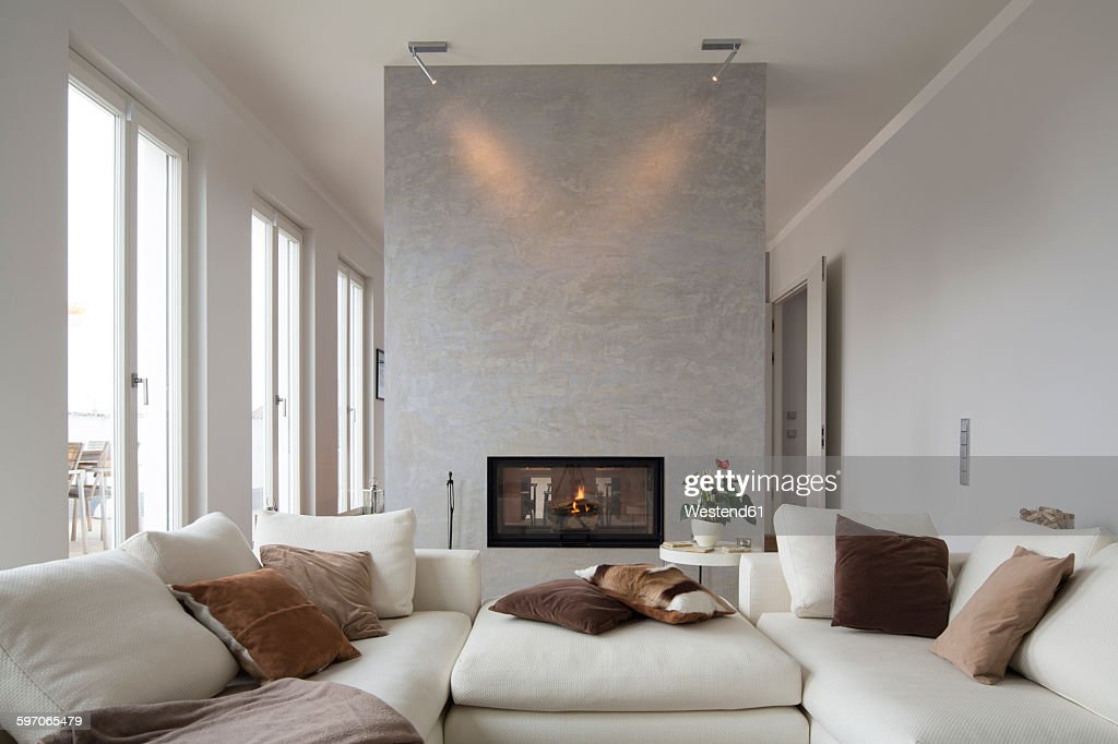 Interior Of Modern Flat Living Room With White Couch High Res Stock Photo Getty Images