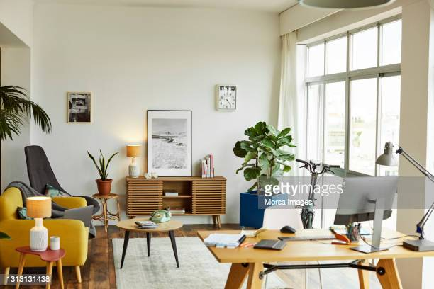 interior of modern home office - living room stock pictures, royalty-free photos & images