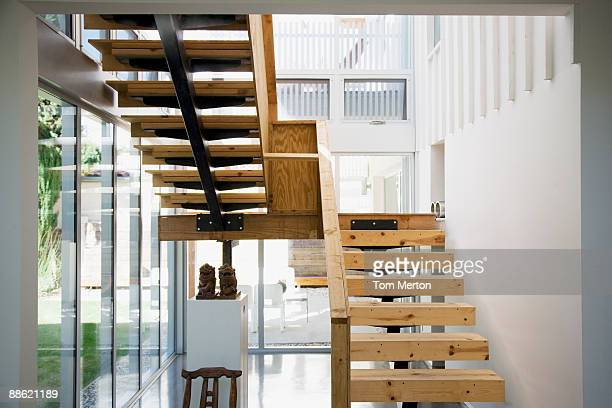 interior of modern house, wooden stairway - staircase stock pictures, royalty-free photos & images