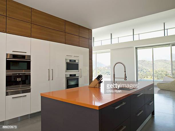 interior of modern kitchen - calabasas stock photos and pictures