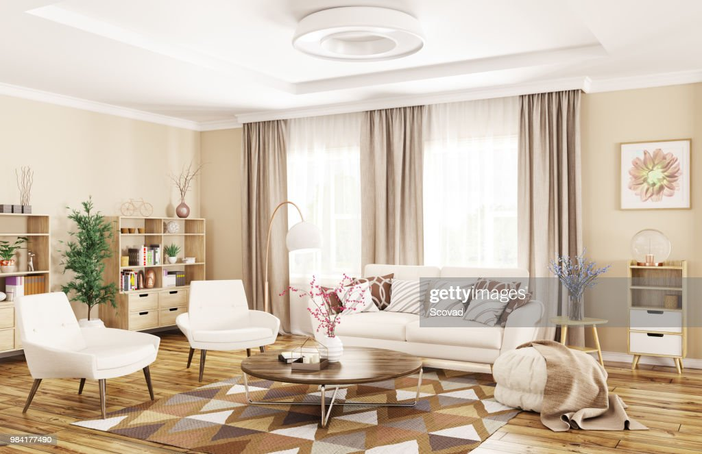 Interior of modern living room 3d rendering : Stock Photo