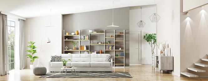 Interior of modern living room panorama 3d rendering 922639992