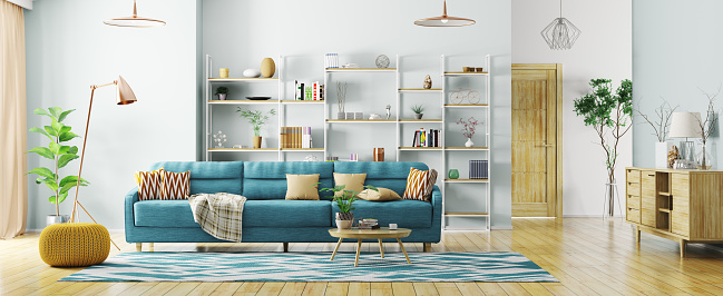 Interior of modern living room panorama 3d rendering 924986488