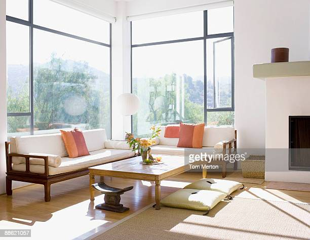 interior of modern living room - sunny stock pictures, royalty-free photos & images