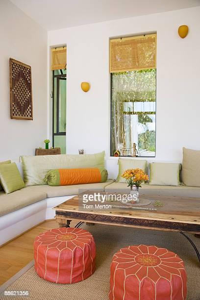 interior of modern living room - ottomane stockfoto's en -beelden
