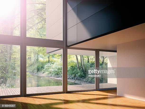 Interior of modern living room with view on brook, 3D rendering