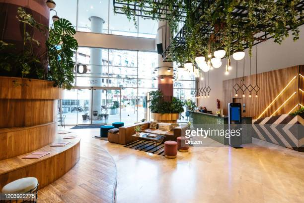 interior of modern office building during the day - office building exterior stock pictures, royalty-free photos & images