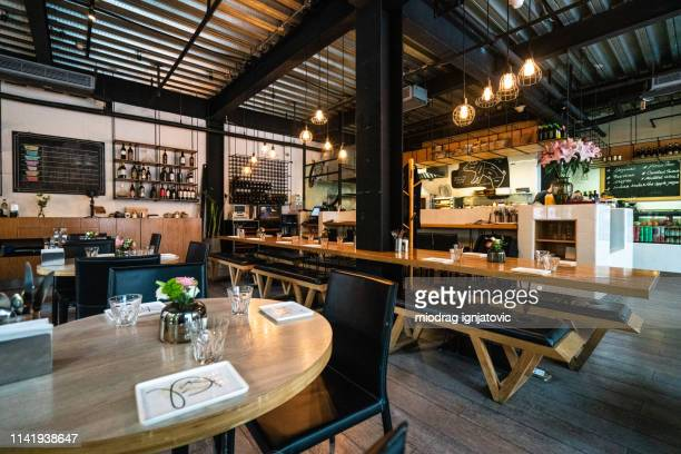 interior of modern restaurant in shanghai - restaurant stock pictures, royalty-free photos & images