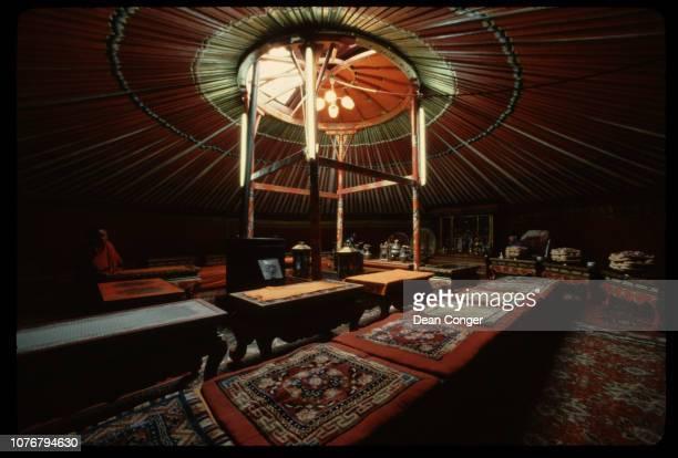 Interior of Monastery Yurt Mongolia
