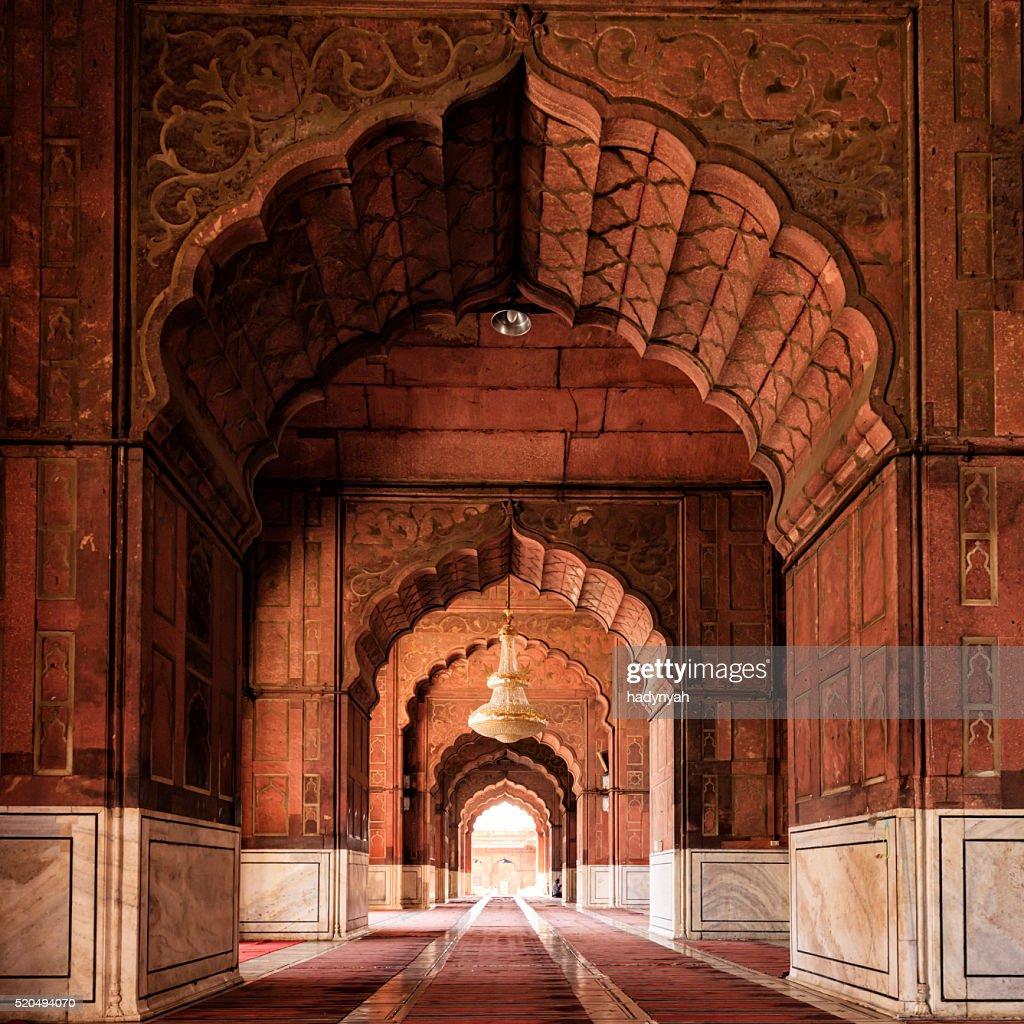 Interior of Mosque Jama Masjid, Delhi, India : Stock Photo