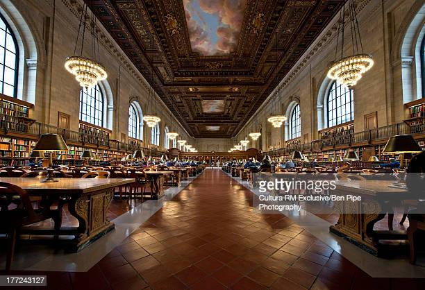 interior of new york public library, manhattan, new york city, usa - new york public library stock pictures, royalty-free photos & images