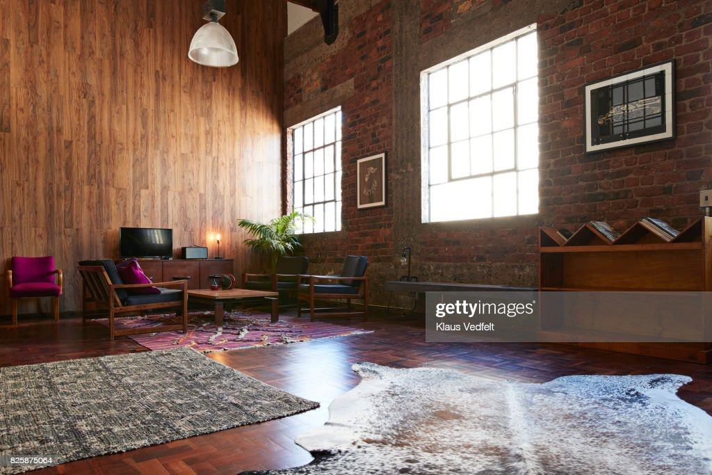 interior of new york style loft holiday rental apartment stock photo