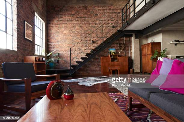 interior of new york style loft, holiday rental apartment - home interior stock pictures, royalty-free photos & images