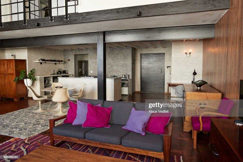 interior of new york style loft holiday rental apartment stock photo