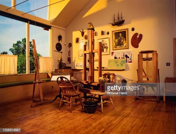 Interior of Norman Rockwell's studio housed in the Norman Rockwell Museum, Stockbridge, Massachusetts, 1992.