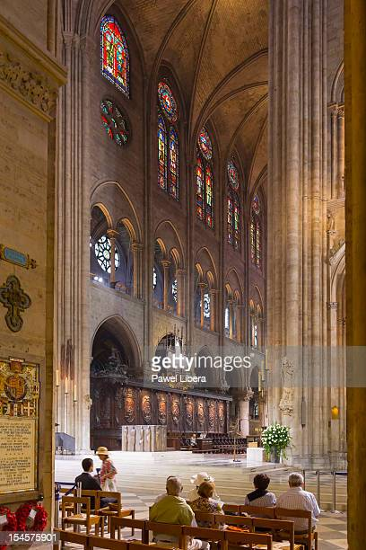 Interior of Notre Dame Cathedral in Paris