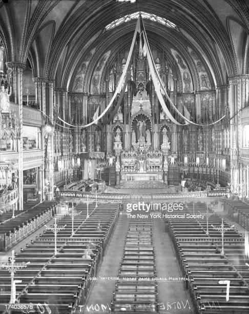 Interior of Notre Dame Church, Montreal, Quebec, Canada, 1890s.