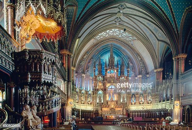 Interior of NotreDame Basilica Montreal Quebec Canada 19th century