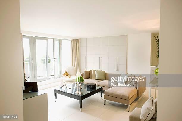 Interior of off-white modern livingroom