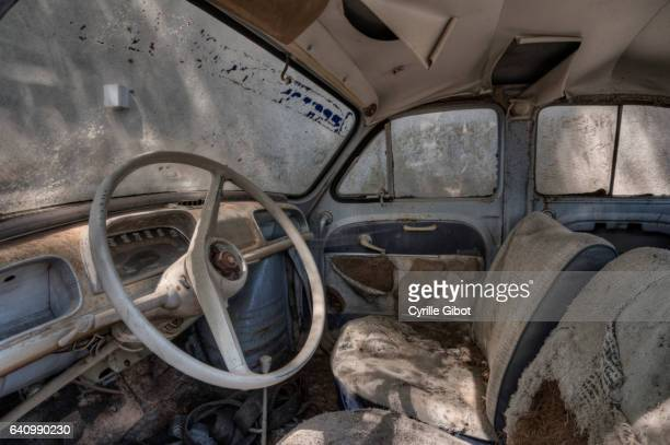 Interior of old abandoned car, Aveyron, France