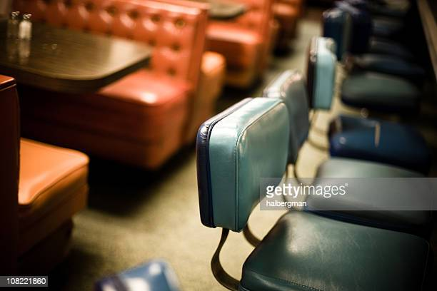 interior of old diner - vintage restaurant stock pictures, royalty-free photos & images