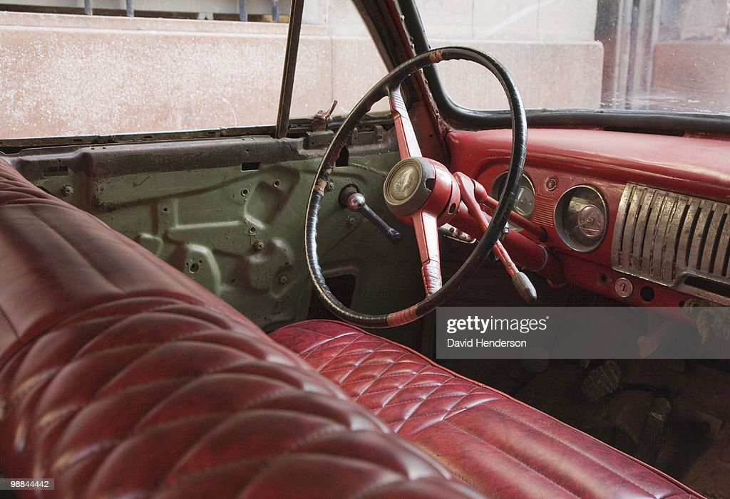 Interior of old-fashioned car : Stock Photo
