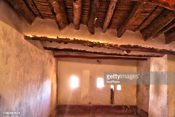 Interior of one of the rooms in the upper floor of the historic Taourirt Kasbah located in the Atlas Mountains in Ouarzazate, Morocco, Africa on 4...