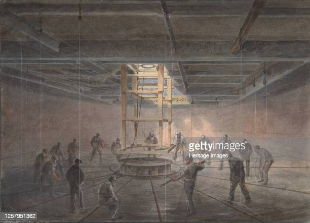 Interior of One of the Tanks on Board the Great Eastern: The Cable Passing Out, 1865-66. Artist Robert Charles Dudley.