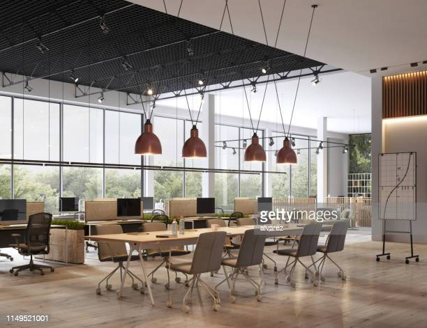 interior of open space office - modern stock pictures, royalty-free photos & images