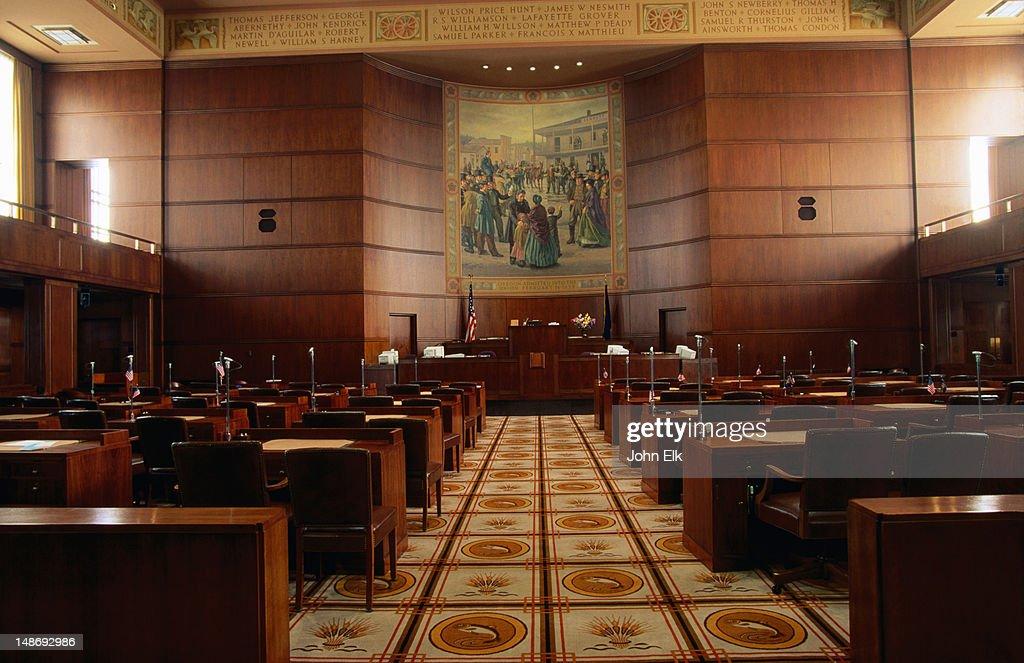 Interior Of Oregon State Capitol Senate Chamber Stock Photo Getty