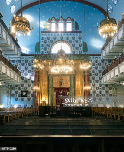 interior of orthodox synagogue in budapest, hungary - jewish museum stock pictures, royalty-free photos & images