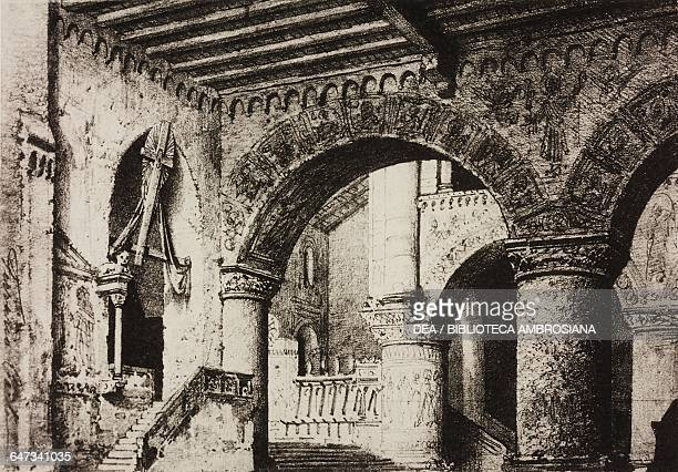 Interior of Palermo Cathedral sketch for Act V Scene VI of the opera Robert the Devil by Giacomo Meyerbeer Season 1870 from 500 stage design sketches...