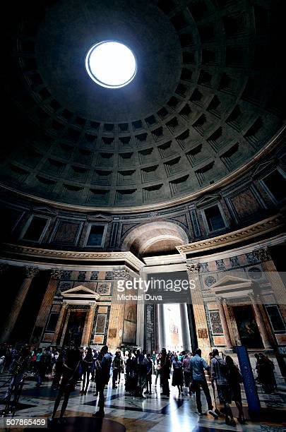interior of pantheon with dome vaulted ceiling - pantheon rome stock photos and pictures