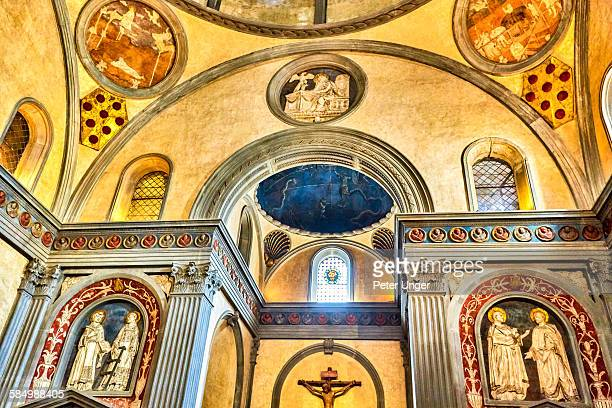 interior of pazzi chapel, santa croce church - chapel stock pictures, royalty-free photos & images