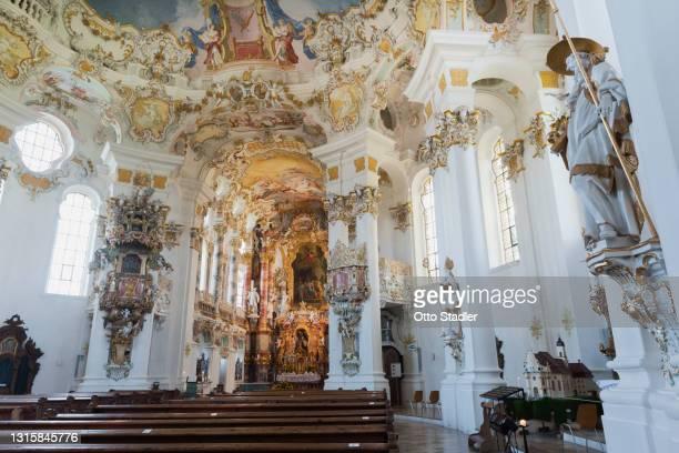 interior of pilgrimage church of wies - 巡礼 ストックフォトと画像