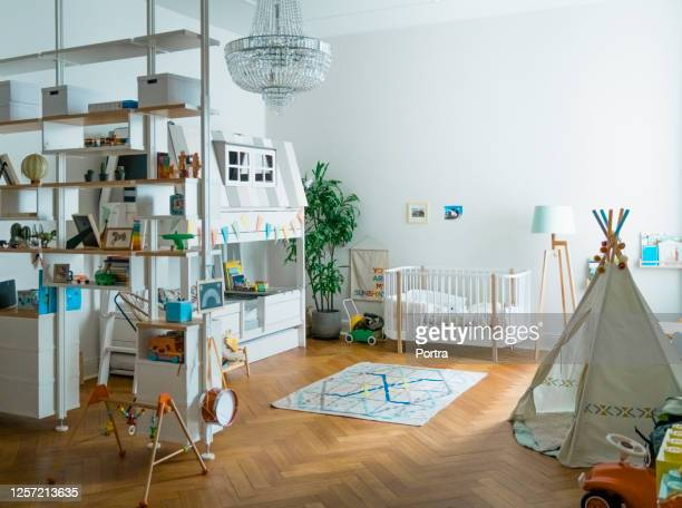 interior of playroom at home - nursery bedroom stock pictures, royalty-free photos & images