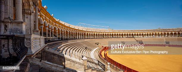 Interior of Plaza de toros de la Real Maestranza de Caballera de Sevilla (The Bullring), Seville, Andalucia, Spain