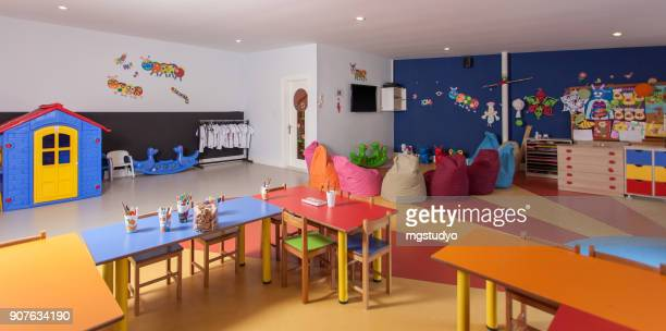 interior of preschool kindergarten - preschool building stock pictures, royalty-free photos & images
