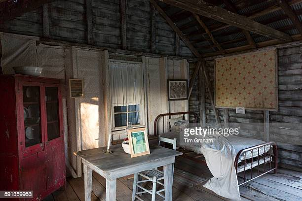Interior of preserved slave quarters shack at cotton plantation at Frogmore Farm in Ferriday the Deep South Louisiana USA