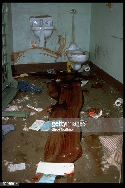 Interior of prison cell w. Blood covering floor after most savage prison uprising in US history by inmates of state penitentiary.